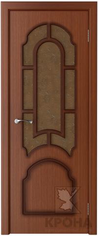 Дверь Крона Соната, стекло дельта-бронза, цвет макоре, остекленная