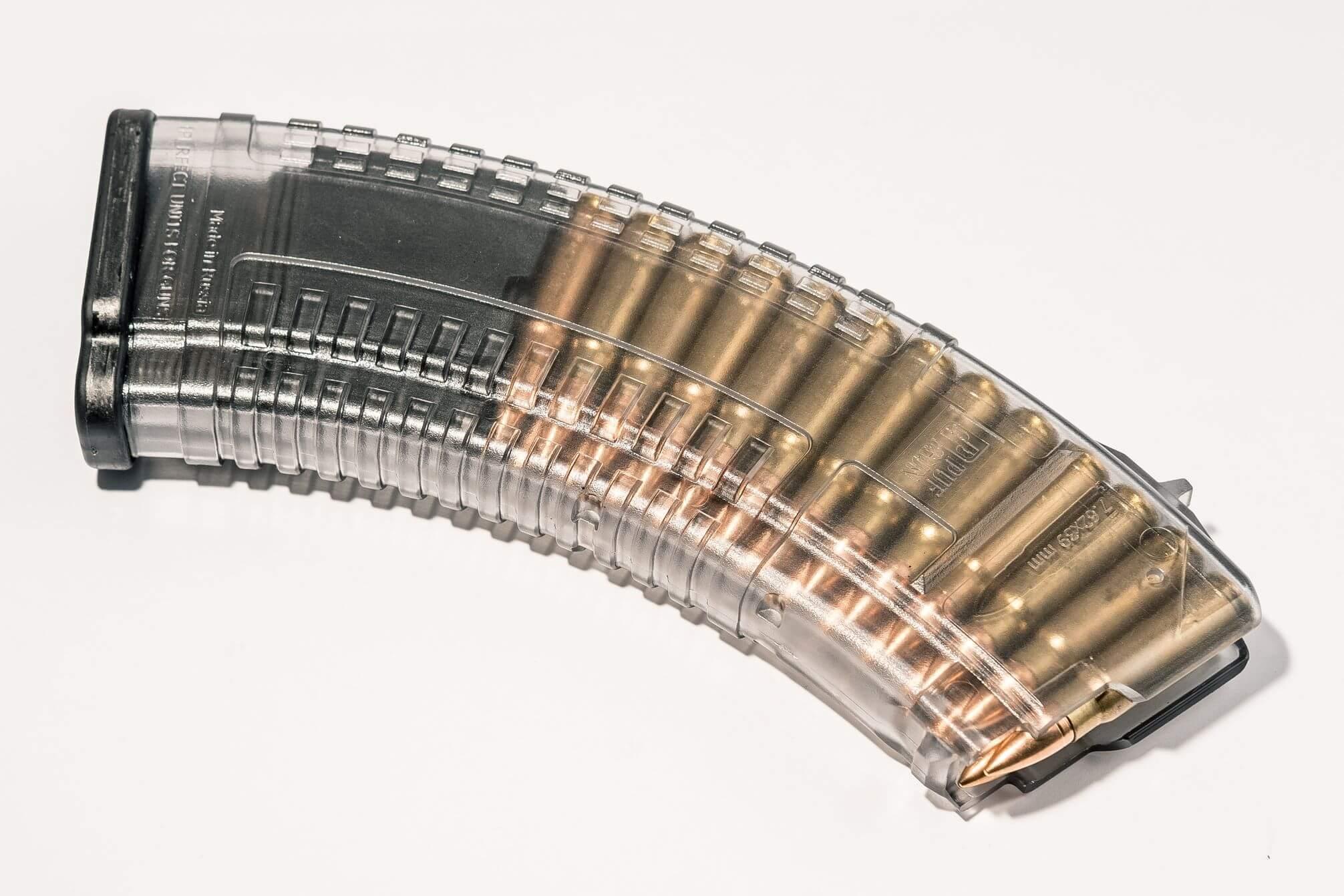 Магазин Pufgun для АКМ (7.62x39) ВПО-136 ВПО-209 на 30 Gen2, прозрачный