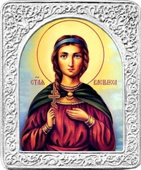 Святая Василисса. Маленькая икона в серебряной раме.