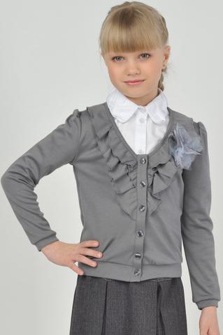Лидер Жакет трикотажный для девочкиЛ-1980 серый