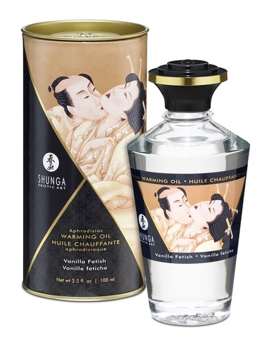 Съедобное массажное масло SHUNGA APHRODISIAC WARMING OIL Vanilla fetish - Ванильный фетиш (100 мл)