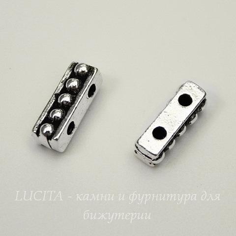 "Разделитель на 2 нити TierraCast ""Бусинки"" (цвет-античное серебро) 11х4 мм"