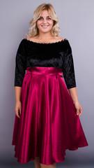 Одри. Женское нарядное платье больших размеров. Бордо.