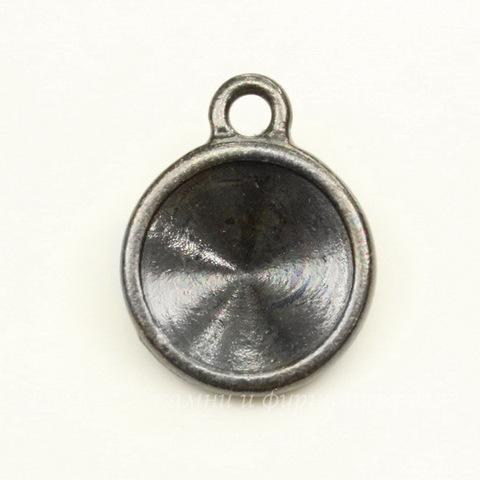 """Сеттинг - основа - подвеска TierraCast """"Грани"""" для страза 12 мм (цвет-черный никель)"""