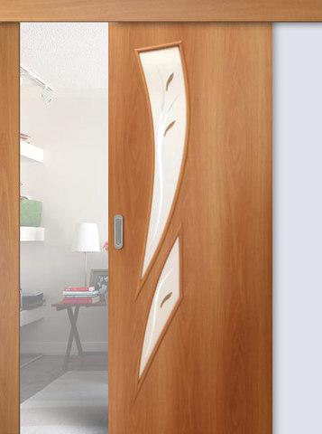 Дверь раздвижная Сибирь Профиль Лагуна (С-7ф) фьюзинг, фьюзинг, цвет миланский орех, остекленная