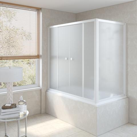 Шторка на ванну Vegas Glass Z2V+ZVF профиль белый, стекло сатин