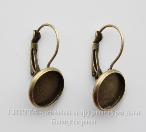 Швензы с французским замком с сеттингом для кабошона 12 мм (цвет - античная бронза)