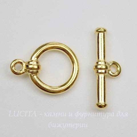Замок - тоггл из 2х частей TierraCast (цвет-золото) 16х12 мм, 19х7 мм