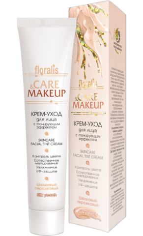 Floralis Care&Makeup Крем-уход для лица с тонирующим эффектом Шелковый персиковый 40г
