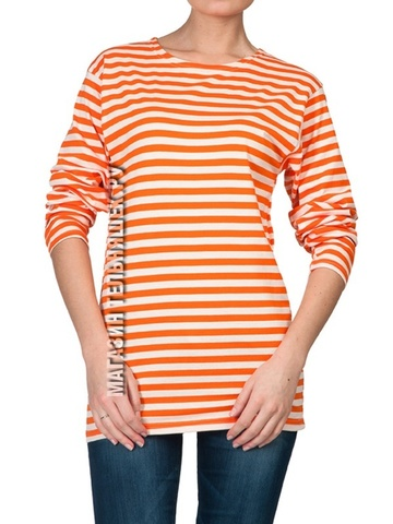 Тельняшка прямая оранжевая полоса