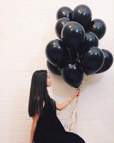 Черные гелиевые шары 1 шт. #14873
