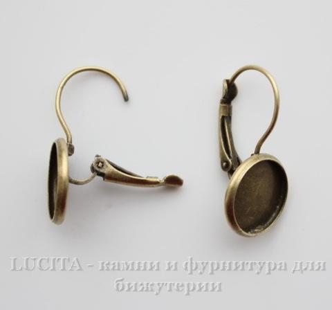 Швензы с французским замком с сеттингом для кабошона 12 мм, 25х14 мм (цвет - античная бронза)