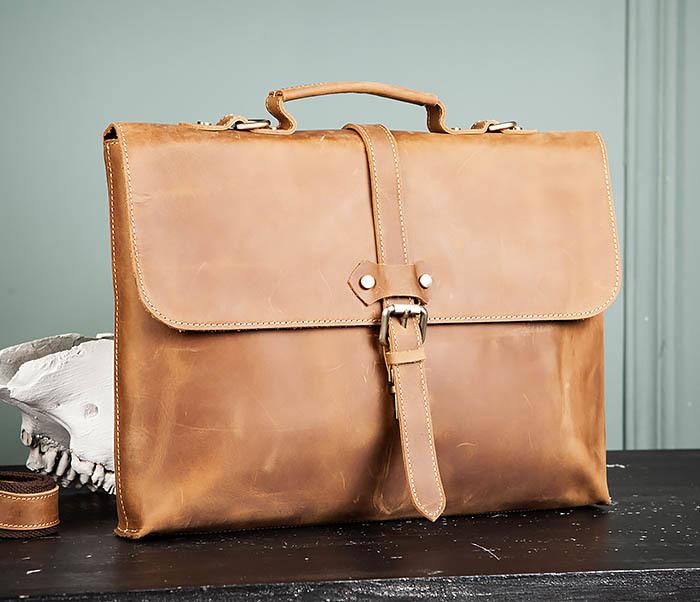 BAG493-2 Мужская сумка из натуральной кожи «Crazy Horse» c ремнем фото 01