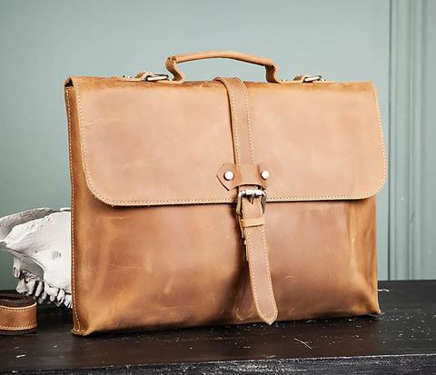 BAG493-2 Мужская сумка из натуральной кожи «Crazy Horse» c ремнем