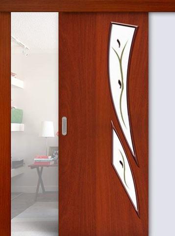 Дверь раздвижная Сибирь Профиль Стрелиция (С-2ф) фьюзинг, фьюзинг, цвет итальянский орех, остекленная