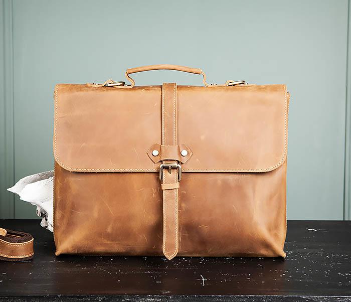 BAG493-2 Мужская сумка из натуральной кожи «Crazy Horse» c ремнем фото 02