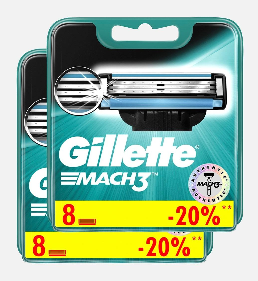 Gillette mach3 комплект (2х8) 16 шт. (Цена за 1 пачку 850р.)