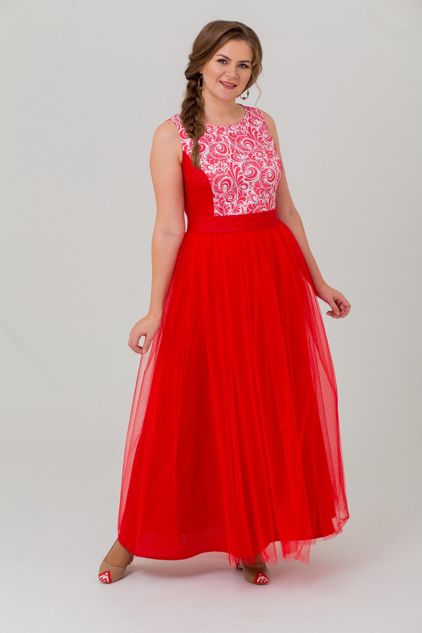 Вечернее льняное платье гжель Аленький цветочек