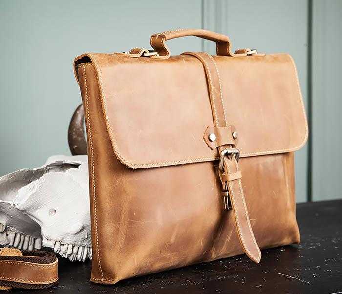 BAG493-2 Мужская сумка из натуральной кожи «Crazy Horse» c ремнем фото 03