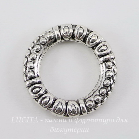 "Коннектор - кольцо ""Бали"" (цвет - античное серебро) 17,5 мм"