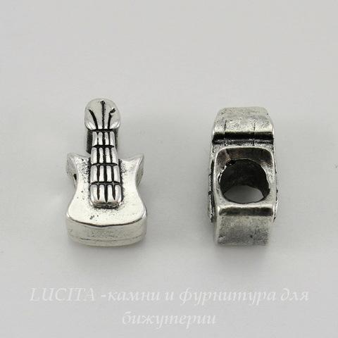 """Бусина металлическая для пандоры """"Гитара"""" (цвет - античное серебро) 16х9 мм"""