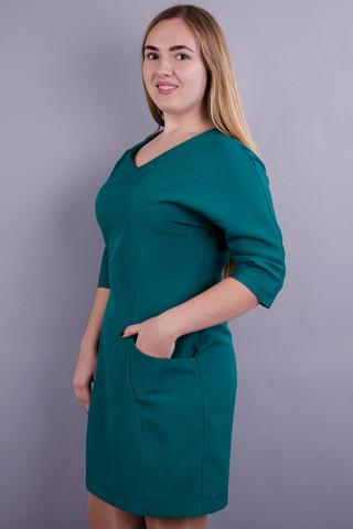 Вікторія. Стильна сукня великих розмірів. Смарагд.