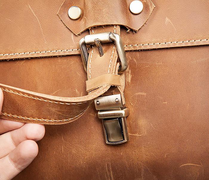 BAG493-2 Мужская сумка из натуральной кожи «Crazy Horse» c ремнем фото 05