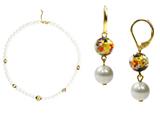 Комплект Arlecchino Lungo Bianco (серьги, ожерелье)