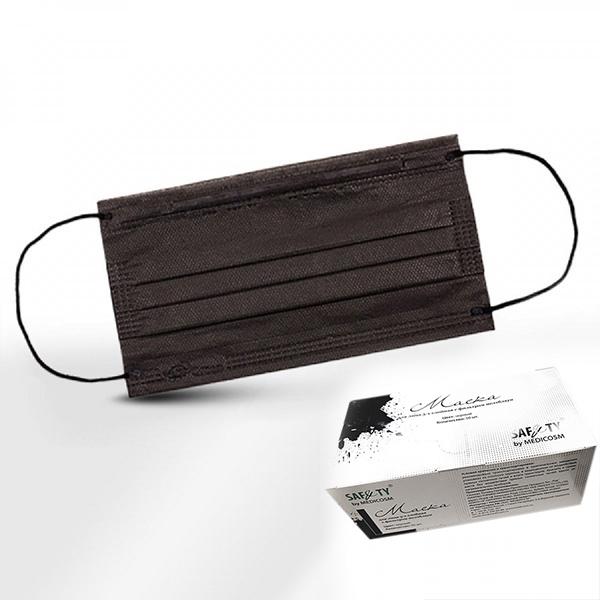Одноразовые материалы для косметологии Маски одноразовые медицинские трехслойные черные, в коробке, 50 шт./уп. Маска-медицинская-в-коробке-черная.jpg