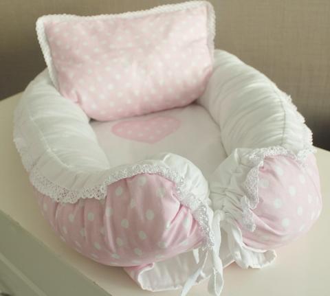 Babynest Комплект кокон + подушечка декоративная розовый в белый горох
