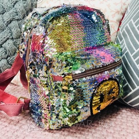 Рюкзак с пайетками с двусторонними пайетками нашивкой Смайлик меняет цвет Радужный-Серебристый