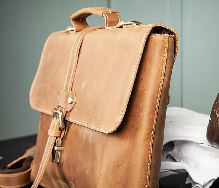 BAG493-2 Мужская сумка из натуральной кожи «Crazy Horse» c ремнем фото 06