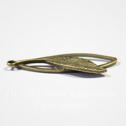 """Подвеска """"Листик в рамке"""" 40х16 мм (цвет - античная бронза)"""