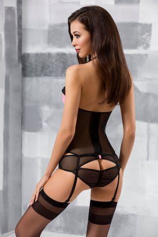 Черный корсет с подвязками для чулок + стринги Praline фото