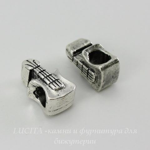 """Бусина металлическая для пандоры """"Гитара"""" 16х9 мм (цвет - античное серебро)"""