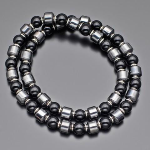 Чокер из натуральных камней гематита и черного перламутра на эластичной нити Rico la Cara AMX007140