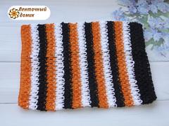 Ажурный топик бело-черно-оранжевый
