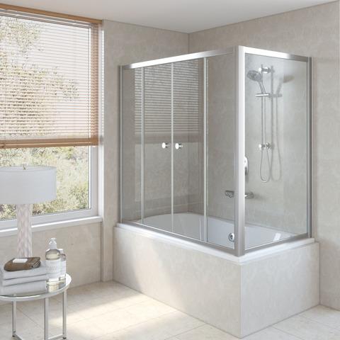 Шторка на ванну Vegas Glass Z2V+ZVF профиль глянцевый хром, стекло прозрачное