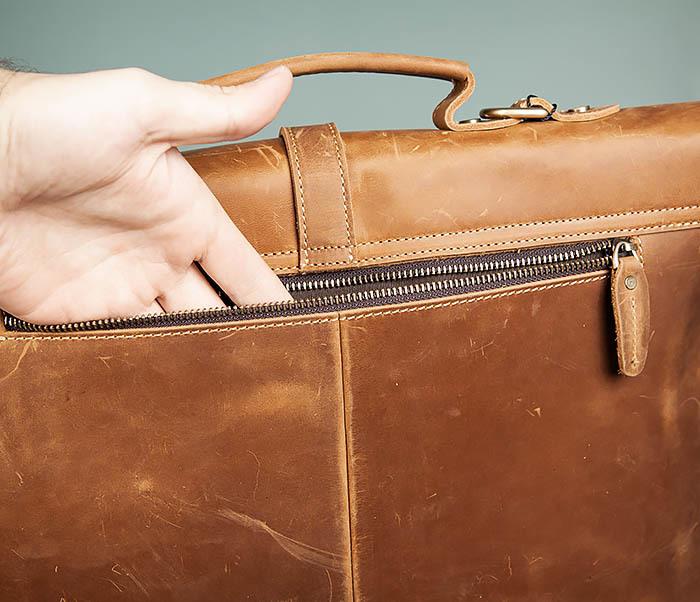 BAG493-2 Мужская сумка из натуральной кожи «Crazy Horse» c ремнем фото 08