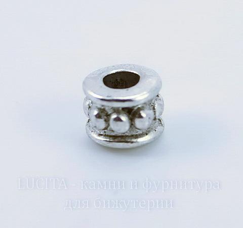 Бусина металлическая 6х5 мм (цвет - античное серебро), 10 штук ()