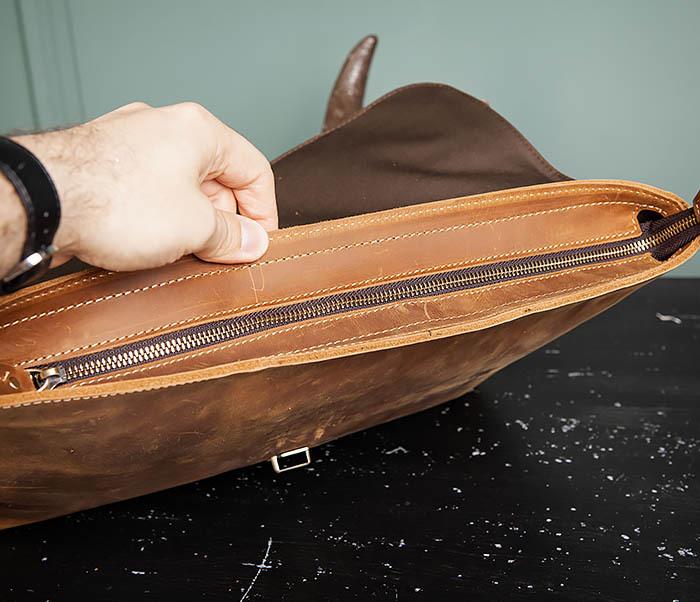 BAG493-2 Мужская сумка из натуральной кожи «Crazy Horse» c ремнем фото 09