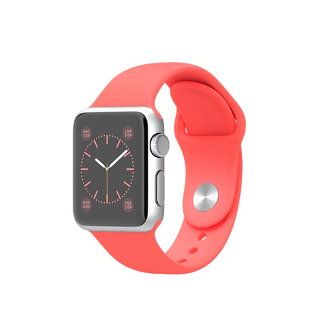 Apple Watch Sport Silver Aluminum Case with Pink Sport Band