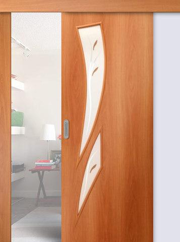 Дверь раздвижная Сибирь Профиль Стрелиция (С-2ф) фьюзинг, фьюзинг, цвет миланский орех, остекленная