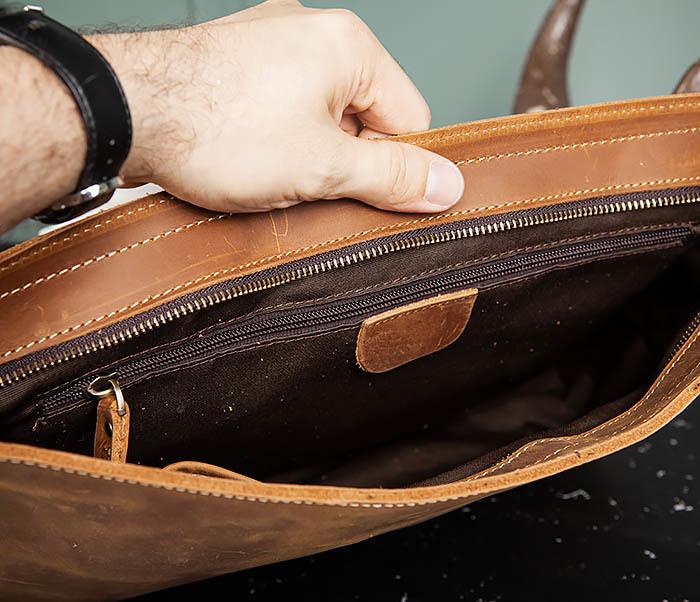 BAG493-2 Мужская сумка из натуральной кожи «Crazy Horse» c ремнем фото 10