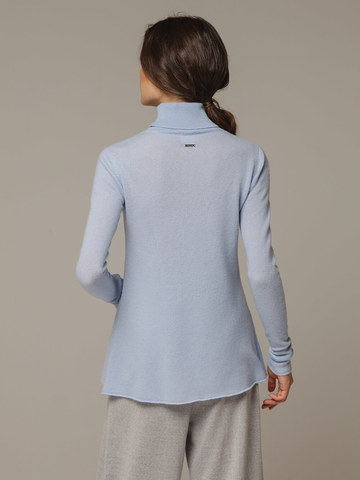 Женский голубой джемпер с высоким горлом из 100% кашемира - фото 3