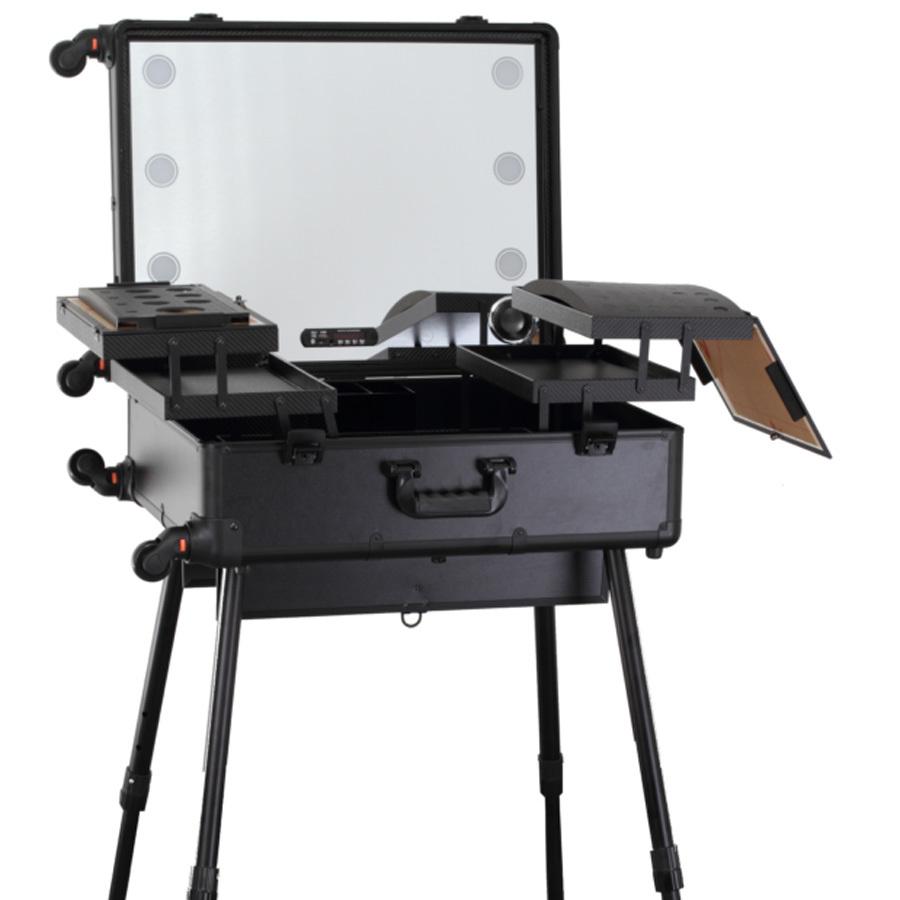 Бьюти кейс визажиста на колесиках (мобильная студия) LC015 Premium Black фото