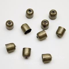 Концевик для шнура 5,5 мм, 7х6 мм (цвет - античная бронза), 10 штук