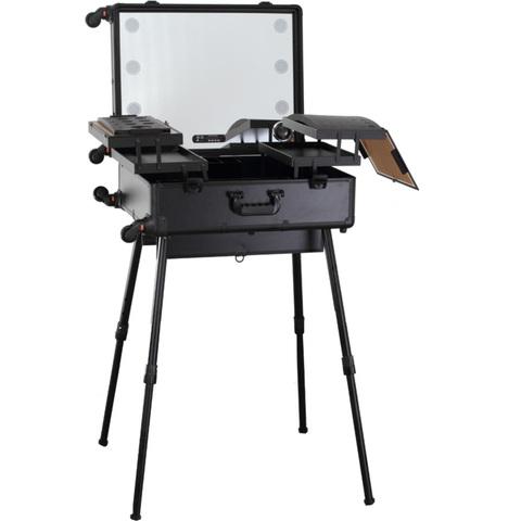 Бьюти кейс визажиста на колесиках (мобильная студия) LC015 Premium Black
