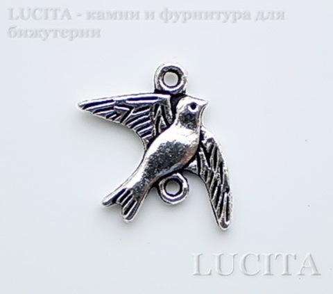 "Коннектор ""Птичка"" (1-1) 20х18 мм (цвет - античное серебро)"