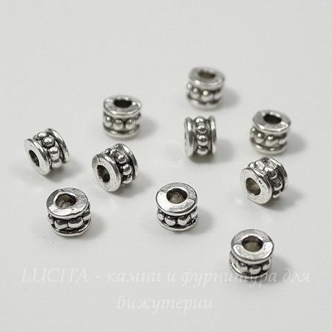Бусина металлическая (цвет - античное серебро) 6х4 мм, 10 штук